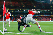 Eintracht Frankfurt midfielder Filip Kostic (10) battles for possession with Arsenal midfielder Mattéo Guendouzi (29) during the Europa League match between Arsenal and Eintracht Frankfurt at the Emirates Stadium, London, England on 28 November 2019.