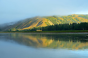 Peace River in morning fog<br /> DUnvegan<br /> Alberta<br /> Canada