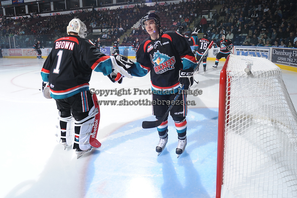 KELOWNA, CANADA, OCTOBER 5: Jesse Lees #2 of the Kelowna Rockets takes part in a pre-game ritual against the Tri City Americans on October 5, 2011 at Prospera Place in Kelowna, British Columbia, Canada (Photo by Marissa Baecker/shootthebreeze.ca) *** Local Caption *** Jesse Lees;