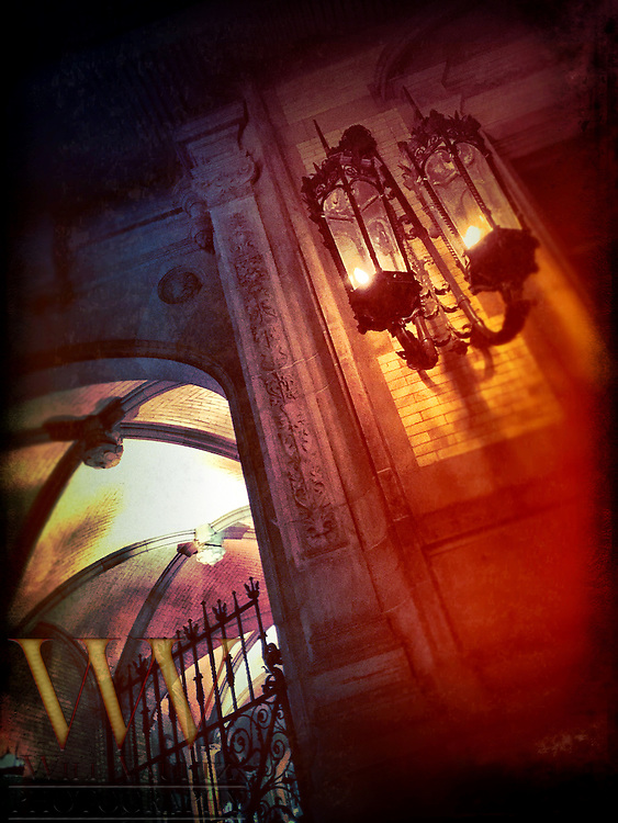 The Dakota entrance gate and gaslight