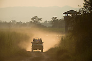 Tourist Vehicle on game drive<br /> Kaziranga National Park<br /> Assam<br /> North East India<br /> UNESCO World Heritage Site