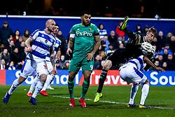 Joe Lumley of Queens Park Rangers lands on Darnell Furlong of Queens Park Rangers - Mandatory by-line: Robbie Stephenson/JMP - 15/02/2019 - FOOTBALL - Loftus Road - London, England - Queens Park Rangers v Watford - Emirates FA Cup fifth round proper