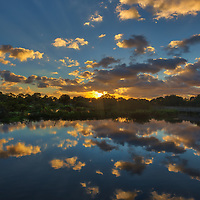 South Florida sunrise photography from nature photographer Juergen Roth showing the waterscape of Wakodahatchee Wetlands in magical sunrise light. Wako is an amazing nature area for viewing and photographing birds and other wildlife in Florida. <br />