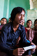 Chandraseker Shahi, 17, talks about child marriages and the importance of family planning at the Kishuri Sachetana Child Club in their activity center in Thahuri Tole, Chhinchu, Surkhet district, Western Nepal, on 1st July 2012. These Child Clubs, supported by the government, Save the Children and their local partner NGO Safer Society, advocate for child rights and against child marriages and use peer support and education to end child marriages and raise awareness. Photo by Suzanne Lee for Save The Children UK