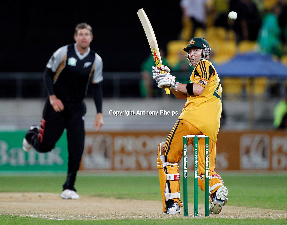 Michael Clarke plays a shot off Jacob Oram New Zealand v Australia Twenty20 cricket match. Westpac Stadium, Wellington. Friday 26 February 2010. Photo: Anthony Phelps/PHOTOSPORT