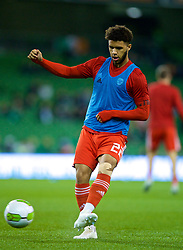 DUBLIN, IRELAND - Tuesday, October 16, 2018: Wales' Tyler Roberts during the pre-match warm-up before the UEFA Nations League Group Stage League B Group 4 match between Republic of Ireland and Wales at the Aviva Stadium. (Pic by David Rawcliffe/Propaganda)