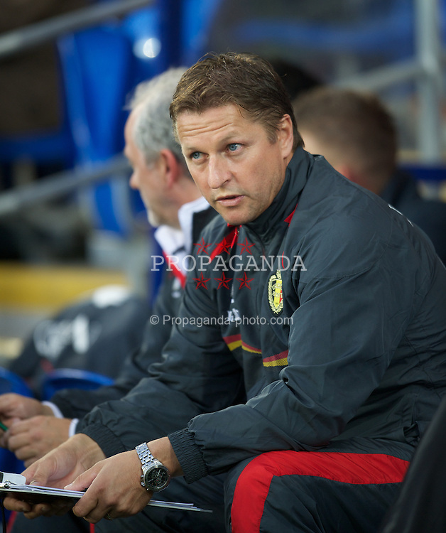 CARDIFF, WALES - Friday, September 7, 2012: Belgium's head coach Marc Wilmots during the 2014 FIFA World Cup Brazil Qualifying Group A match against Wales at the Cardiff City Stadium. (Pic by David Rawcliffe/Propaganda)