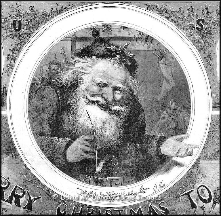 Smiling Christmas Santa Claus wearing a sprig of Holly on his head, one hand outstretched the other holding a pipe. Early Thomas Nast Christmas Illustration in Harper's Weekly December 1865.