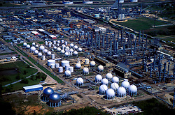 Stock photo of an aerial view of a petrochemical facility and storage tank farm