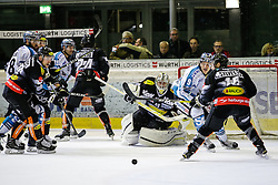 23.12.2016, Messestadion, Dornbirn, AUT, EBEL, Dornbirner Eishockey Club vs EHC Liwest Black Wings Linz, 34. Runde, im Bild v. l. Brock McBride, (Dornbirner Eishockey Club, #86), Dan DaSilva (EHC Liwest Black Wings Linz, #88), Brett McLean, (EHC Liwest Black Wings Linz, #15)Florian Hardy, (Dornbirner Eishockey Club, #49), Brian Leber, (EHC Liwest Black Wings Linz, #09) und Cody Sylvester, (Dornbirner Eishockey Club, #16) // during the Erste Bank Icehockey League 34th round match between Dornbirner Eishockey Club and EHC Liwest Black Wings Linz at the Messestadion in Dornbirn, Austria on 2016/12/23, EXPA Pictures © 2016, PhotoCredit: EXPA/ Peter Rinderer