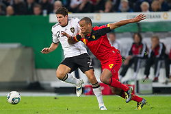 11.10.2011, Esprit Arena, Duesseldorf, GER, UEFA EURO 2012 Qualifikation, Deutschland (GER) vs Belgien (BEL), im Bild Zweikampf Mario Gomez (#23 GER, Bayern Muenchen) - Vincent Kompany (#4 BEL) // during the UEFA Euro 2012 qualifying round Germany vs Belgium  at Esprit Arena, Duesseldorf 2011-10-11 EXPA Pictures © 2011, PhotoCredit: EXPA/ nph/  Kurth       ****** out of GER / CRO  / BEL ******