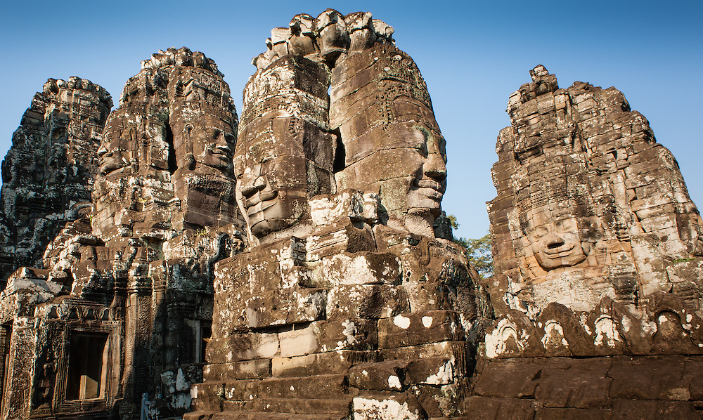 Bayon temple face towers in Angkor (Cambodia)