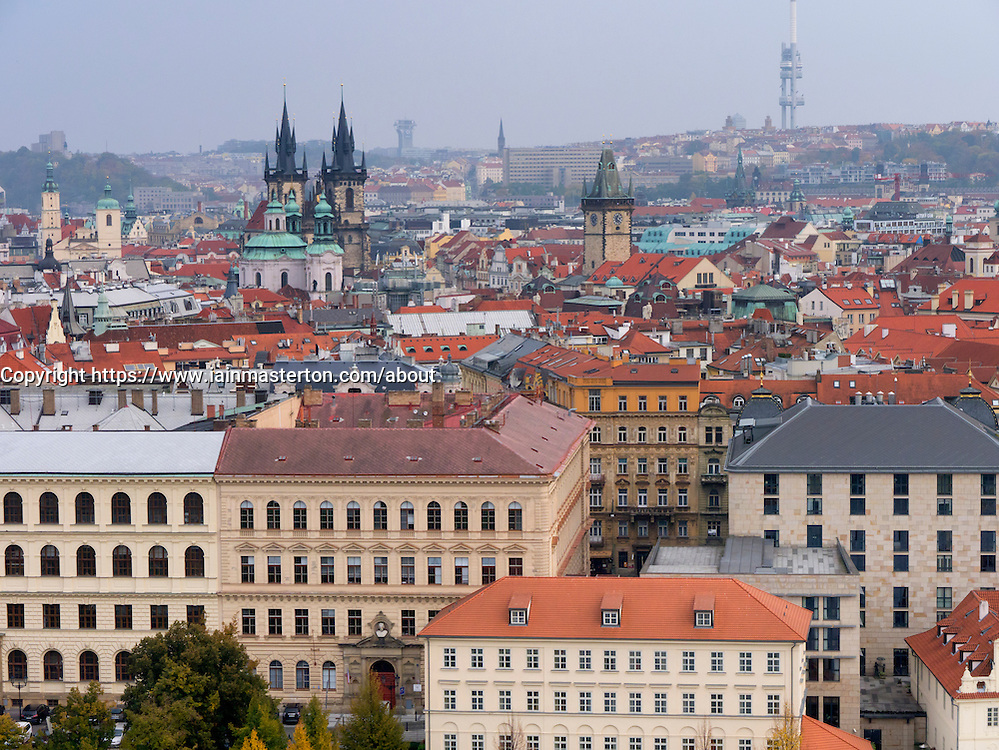 Ariel view of Stare Mesto district in Prague in Czech Republic