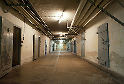 Underground cells in U-boat bunker at state secret security police or STASI prison at Hohenschönhausen in Berlin Germany