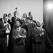 The choir at a Saturday afternoon service at Shekina Cathedral in Brussels, Belgium on 7 July 2012. Located in a converted warehouse space in a neighbourhood dominated by the secondhand car trade, the church has a predominantly Congolese congregation, most of whom do not live in the neighbourhood but who come each week to attend church.