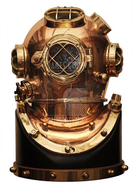 vintage deep sea diving helmet isolated on white