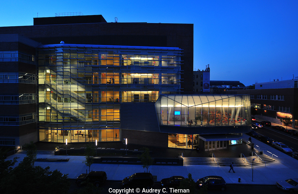 Brooklyn, NY: Thursday, May 12, 2011-- CUNY's  Medgar Evers College's new science building at night .  © Audrey C. Tiernan