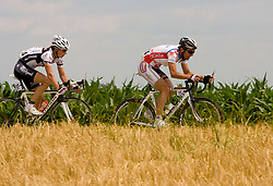 Leopold Konig (CZE) of PSK Whirpool-Author and Matija Kvasina  of Croatian National Team after start in Sentjernej of the 4th stage of Tour de Slovenie 2009 from Sentjernej to Novo mesto, 153 km, on June 21 2009, Slovenia. (Photo by Vid Ponikvar / Sportida)