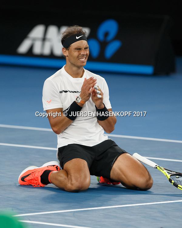 RAFAEL NADAL (ESP) jubelt nach seinem Sieg,Jubel,Freude,Emotion,<br /> <br /> Australian Open 2017 -  Melbourne  Park - Melbourne - Victoria - Australia  - 25/01/2017.