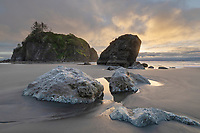 Rialto Beach  afterglow Olympic National Park Washington