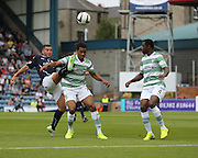 Dundee's Peter MacDonald nicks the ball away from Celtic's, on loan from Manchester City, Celtic's Jason Denayer - Dundee v Celtic SPFL Premiership at Dens Park<br /> <br />  - &copy; David Young - www.davidyoungphoto.co.uk - email: davidyoungphoto@gmail.com