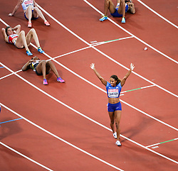 London, August 10 2017 . Kori Carter, USA, celebrates her  victory in the women's 400m hurdles final on day seven of the IAAF London 2017 world Championships at the London Stadium. © Paul Davey.