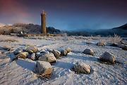 Winter scene of the Jacobite Monument at Glenfinnan, Lochaber, Highlands.