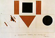 Supreme Variatiaons', 1919. Watercolour on paper. Kasimir Severinovich Malevich (1879-1935) Russian painter and art theoretician.  Geometric Abstract