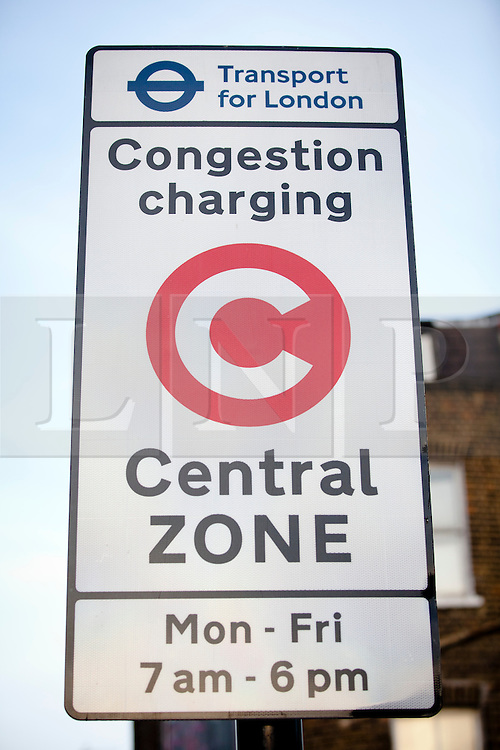 © Licensed to London News Pictures. 18/02/2013. London, UK. On the 10th anniversary of its implementation a congestion charge scheme sign is seen in Lambeth, London, today (18/02/2013). Photo credit: Matt Cetti-Roberts/LNP