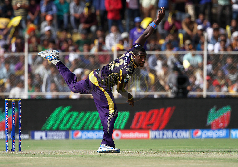 Andre Russell of the Kolkata Knight Riders bowls during match 25 of the Pepsi Indian Premier League Season 2014 between the Rajasthan Royals and the Kolkata Knight Riders held at the Sardar Patel Stadium, Ahmedabad, India on the 5th May  2014<br /> <br /> Photo by Vipin Pawar / IPL / SPORTZPICS      <br /> <br /> <br /> <br /> Image use subject to terms and conditions which can be found here:  http://sportzpics.photoshelter.com/gallery/Pepsi-IPL-Image-terms-and-conditions/G00004VW1IVJ.gB0/C0000TScjhBM6ikg