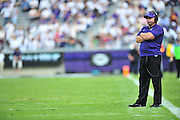 FORT WORTH, TX - SEPTEMBER 13:  TCU Horned Frogs head coach Gary Patterson looks on against the Minnesota Golden Gophers on September 13, 2014 at Amon G. Carter Stadium in Fort Worth, Texas.  (Photo by Cooper Neill/Getty Images) *** Local Caption *** Gary Patterson