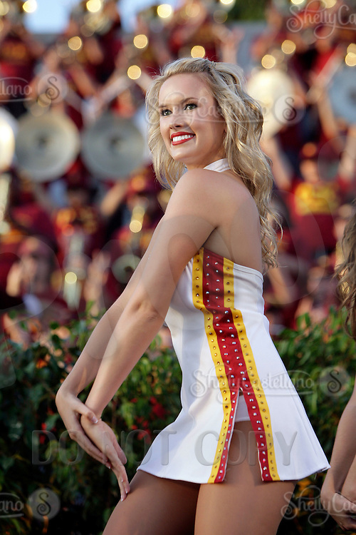 22 August 2009: Cheerleader Song Girl Becky  at the 2009 Salute to Troy after the final day of fall camp on campus. The Trojan Football team was joined on Cromwell Field by 3,500 fans, the Trojan Marching Band, the 2009 Song Girls Cheerleading squad to kickoff the upcoming season.
