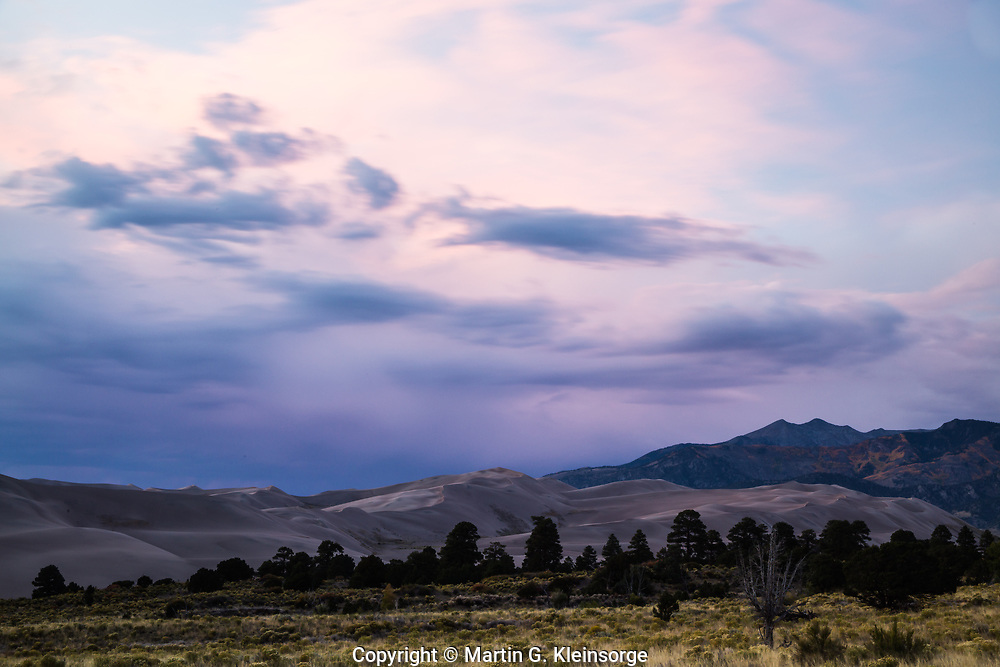 Sunset over the Great Sand Dunes National Park and the Sangre De Cristo Mountains, Colorado.