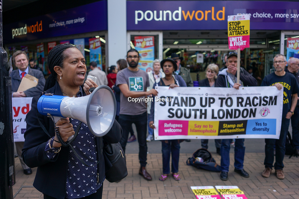 Stand Up To Racism demonstration against a horrific attack which took place last night 1st April 2017 which attacks by 8 home growth terror gangs left a 17 year old asylum seeker fighting for his life in Croydon. Protestors give a simple message community should live in fear in out society, London,UK. by See Li