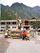 Statue of Pachacuti in the Main Plaza of Aguas Calientes, the jumping off point for Machu Picchu, Peru.