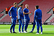 Marcos Alonso (3) of Chelsea, Ross Barkley (8) of Chelseaand other Chelsea players on the pitch on arrival to St Mary's Stadium before the Premier League match between Southampton and Chelsea at the St Mary's Stadium, Southampton, England on 7 October 2018.
