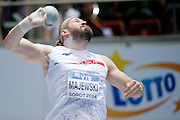 Tomasz Majewski of Poland competes in men's shot put final during the IAAF Athletics World Indoor Championships 2014 at Ergo Arena Hall in Sopot, Poland.<br /> <br /> Poland, Sopot, March 7, 2014.<br /> <br /> Picture also available in RAW (NEF) or TIFF format on special request.<br /> <br /> For editorial use only. Any commercial or promotional use requires permission.<br /> <br /> Mandatory credit:<br /> Photo by &copy; Adam Nurkiewicz / Mediasport