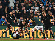 JOHANNESBURG, South Africa, 25 July 2015 : James Broadhurst of the All Blacks Heinrich Brussow of the Springboks with Francois Louw of the Springboks ready to steal the ball during the Castle Lager Rugby Championship test match between SOUTH AFRICA and NEW ZEALAND at Emirates Airline Park in Johannesburg, South Africa on 25 July 2015. <br /> Springboks 20 - 27 All Blacks<br /> <br /> © Anton de Villiers / SASPA
