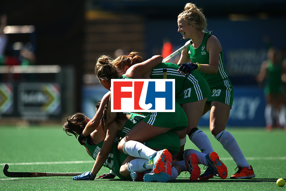 JOHANNESBURG, SOUTH AFRICA - JULY 22:  Lizzie Colvin of Ireland celebrates her goal with team mates during day 8 of the FIH Hockey World League Women's Semi Finals 7th/ 8th place match between India and Ireland at Wits University on July 22, 2017 in Johannesburg, South Africa.  (Photo by Jan Kruger/Getty Images for FIH)