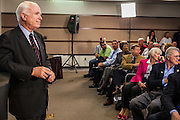 23 AUGUST 2012 - PEORIA, AZ:  Senator JOHN McCAIN (R-AZ),  during a town hall meeting in Peoria, AZ. Sen. McCain held a town hall in Peoria, a suburb of Phoenix, to talk about the impact that sequestration would have on the Arizona economy and the Department of Defense. McCain said sequestration would immediately cost Arizona more than 35,000 defence related jobs and decimate the armed forces. Sequestration would result in about $1.2 trillion being cut from the federal budget. Sequestration, and automatic budget cuts, is scheduled to go into effect on Jan 1, 2013, if the President and Congress can't agree on budget.     PHOTO BY JACK KURTZ