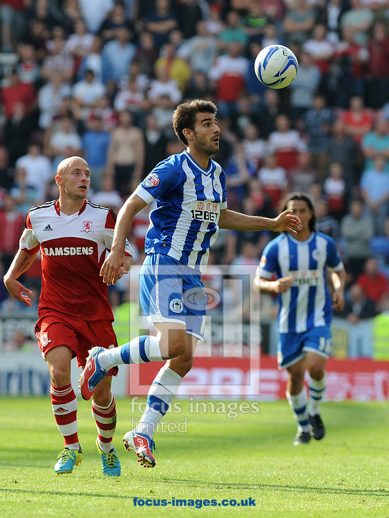 Picture by Alan Wright/Focus Images Ltd 07733 196489<br /> 25/08/2013Jordi Gomez of Wigan Athletic during the match against Middlesbrough in the Sky Bet Championship at the DW Stadium, Wigan.
