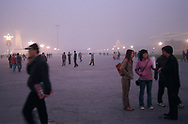 A shroud of smog envelopes Tiananmen Square. Seven of the ten most polluted cities in the world are located in China, due primarily to the country's dependence on coal for energy and dilapidated heavy industries.<br /> Beijing, China. 05/11/2005<br /> Photo &copy; J.B. Russell
