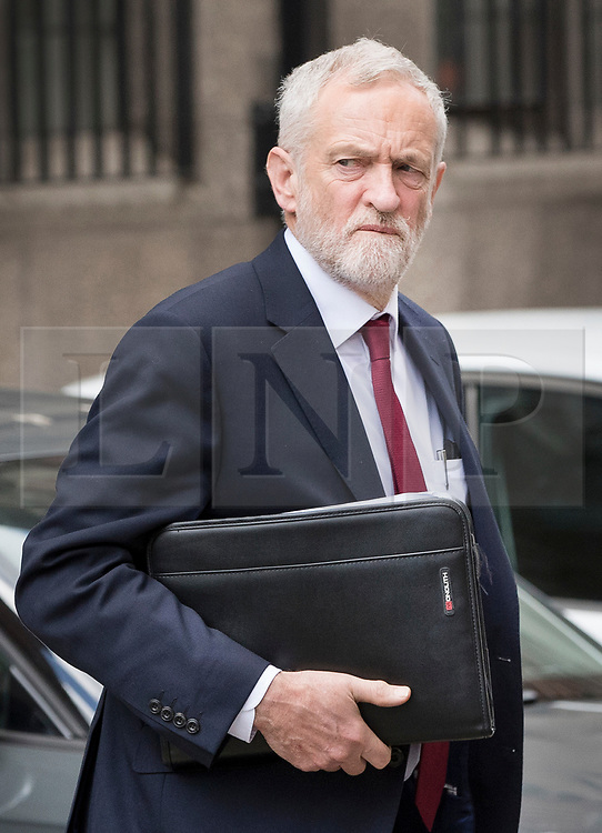 © Licensed to London News Pictures.18/04/2017.London, UK. Labour Party leader Jeremy Corbyn leaves his office in Parliament after Prime Minister Theresa May called a surprise general election for June 8th. Photo credit: Peter Macdiarmid/LNP