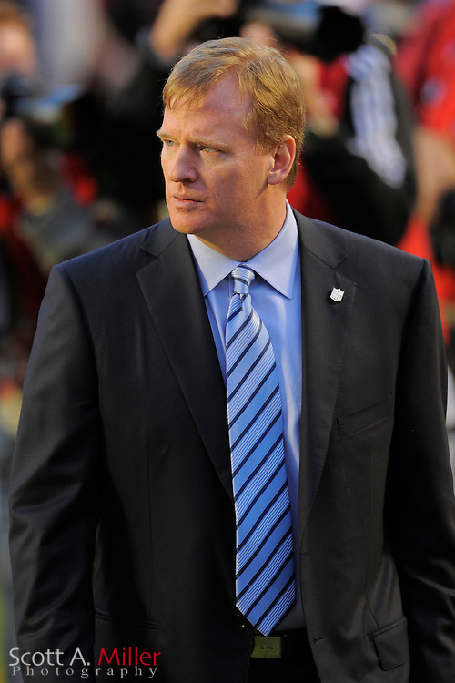 Miami, FL, USA; NFL Commissioner Roger Goodell prior to the New Orleans Saints 31-17 win over the Indianapolis Colts in Super Bowl XLIV at Sun Life Stadium on Feb 7, 2010...©2010 Scott A. Miller