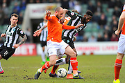 Luton Town's Scott Cuthbert battles with Plymouth Argyle's Jamille Matt during the Sky Bet League 2 match between Plymouth Argyle and Luton Town at Home Park, Plymouth, England on 19 March 2016. Photo by Graham Hunt.