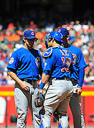 May 1 2011; Phoenix, AZ, USA; Chicago Cubs starting pitcher Casey Coleman (27) talks with catcher Geovany Soto (18) at the mound during the third inning against the Arizona Diamondbacks at Chase Field. Mandatory Credit: Jennifer Stewart-US PRESSWIRE..