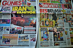 January 2, 2018 - Ankara, Turkey - A photo taken in Ankara, Turkey on January 2, 2018 shows Turkish pro-government daily newspapers reacting over protests against the Iranian government by blaming the U.S. and Israel. Iran has been facing numerous anti-government protests as thousands of demonstrators take to the streets in 29 provinces in the recent days, leaving at least 18 dead including a police officer shot with a shotgun, the Iranian media reported. (Credit Image: © Altan Gocher/NurPhoto via ZUMA Press)