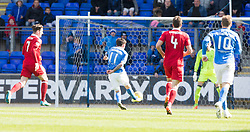 St Johnstone's Danny Swanson misses a chance. St Johnstone 1 v 2 Aberdeen. SPFL Ladbrokes Premiership game played 15/4/2017 at St Johnstone's home ground, McDiarmid Park.