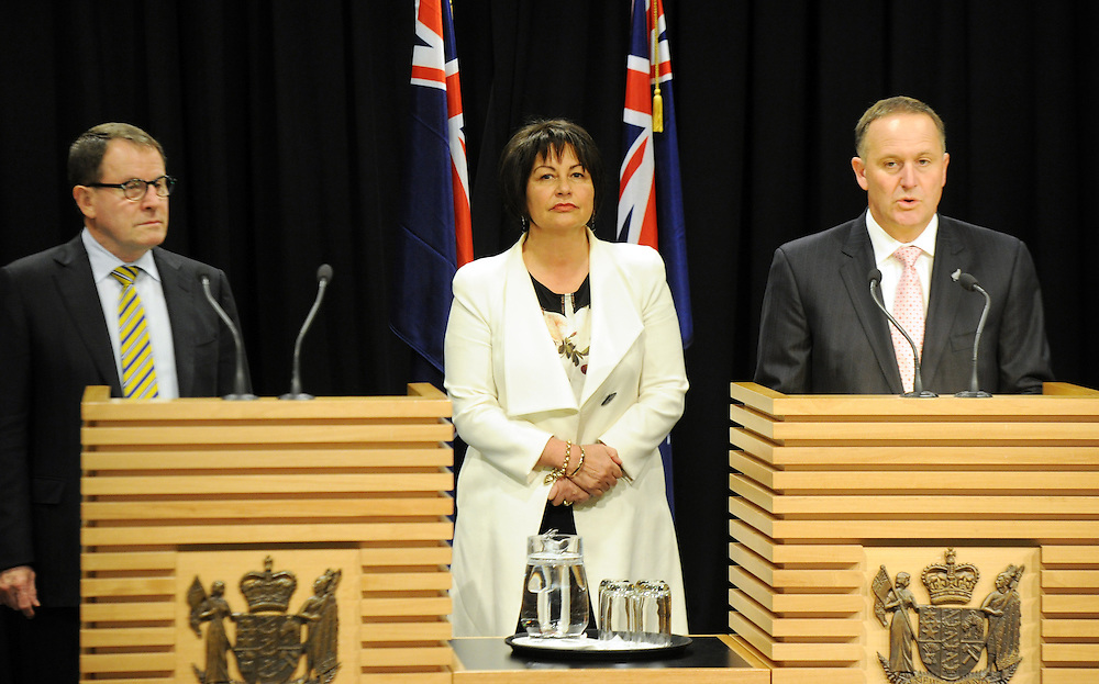 Prime Minister John Key, right, with Associate Education Minister, ACT leader John Banks, left and Education Minister Hekia Parata at the announcement of the first five Partnership Schools, Parliament, Wellington, New Zealand, Tuesday, September 17, 2013. Credit:SNPA / Ross Setford