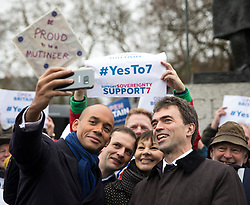 © Licensed to London News Pictures. 13/12/2017. London, UK. Chuka Umunna MP (L), Caroline Lucas MP (2-R) and Tom Brake MP (R) join a rally in Parliament Square in support of Amendment 7 to the EU Withdrawal Bill. Photo credit: Rob Pinney/LNP
